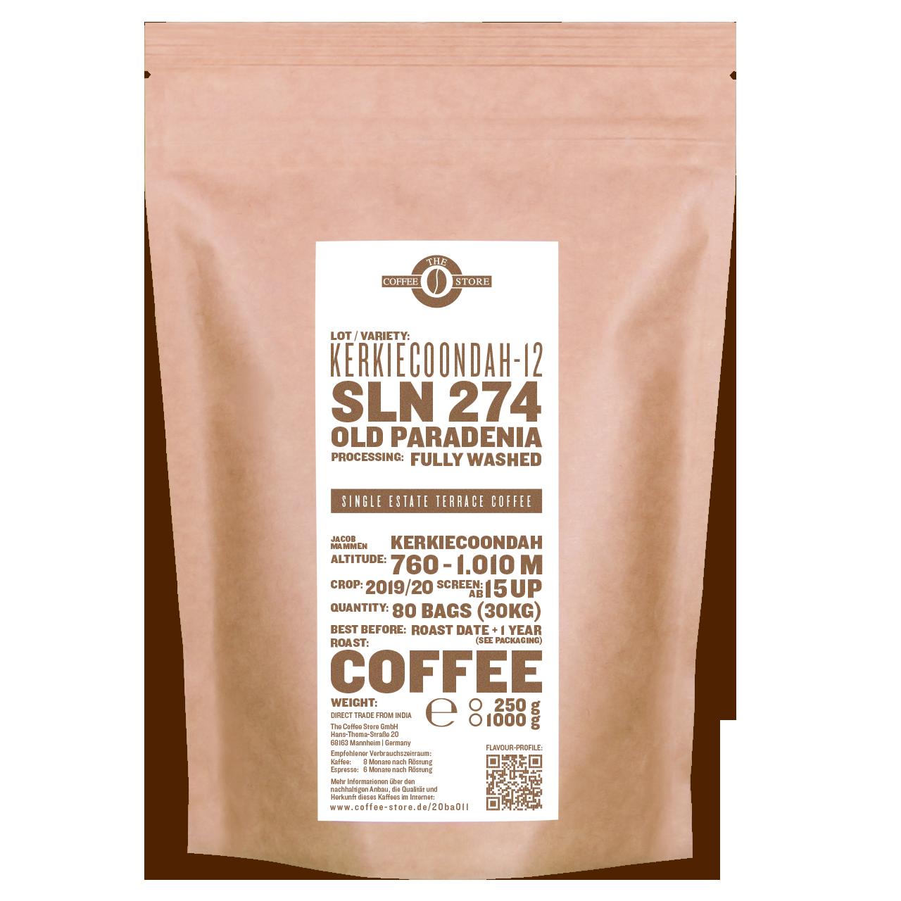 Eine Tüte gerösteter Kaffee von The Coffee Store. Kaffeeröstung Varietät SLN 274/Old Paradenia.
