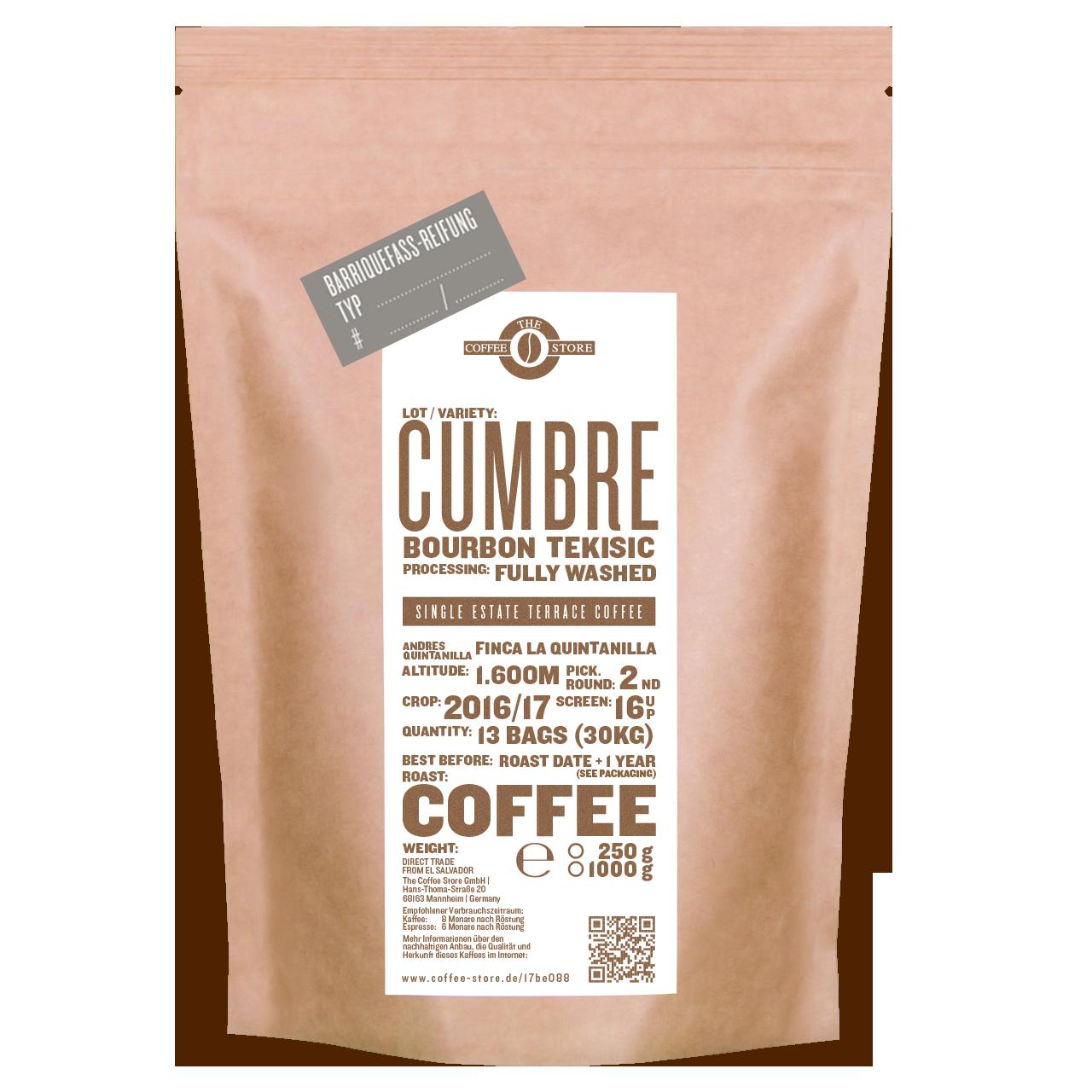 Eine Tüte gerösteter Kaffee von The Coffee Store. Kaffeeröstung Varietät Bourbon Tekisic im Fass gereift.
