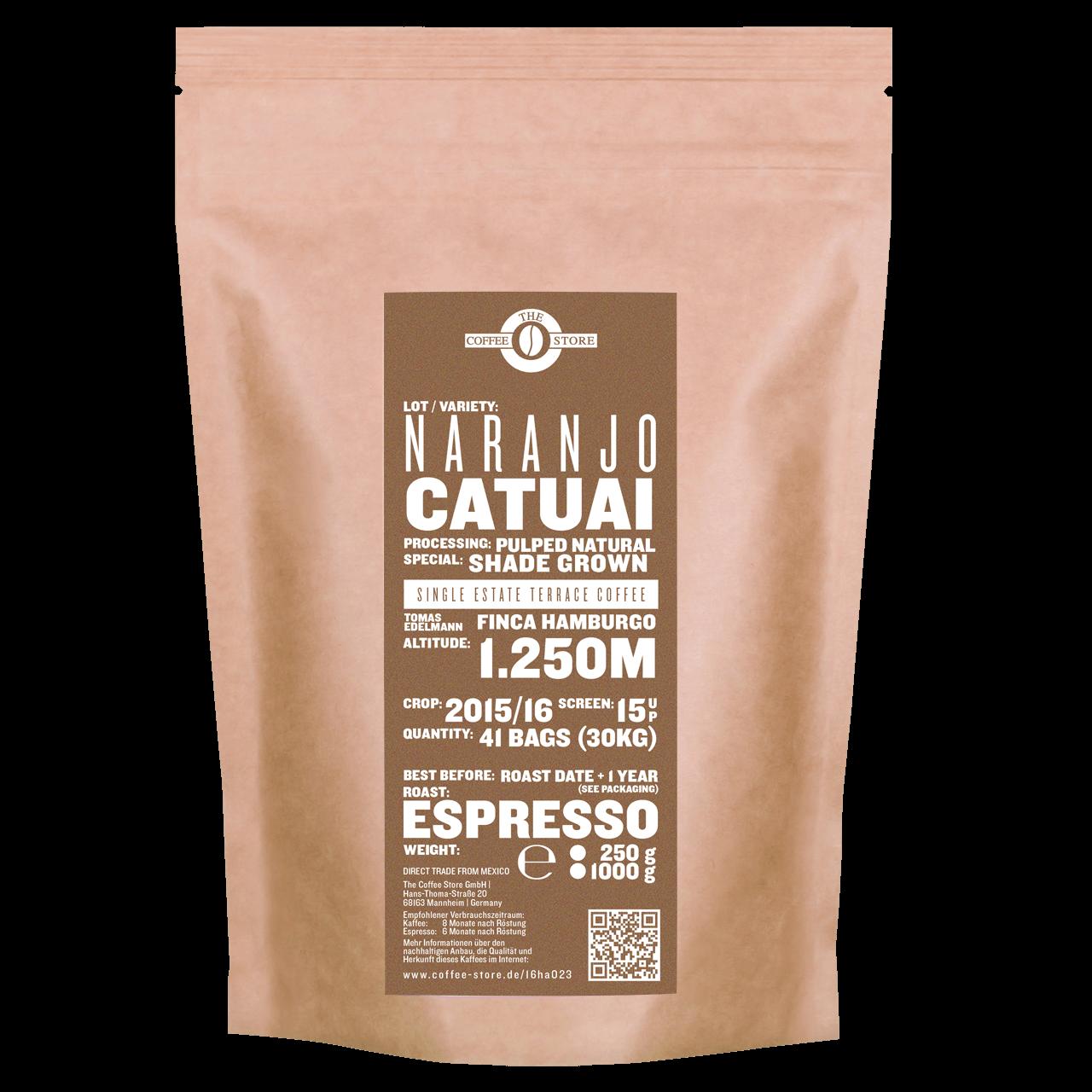 Eine Tüte gerösteter Kaffee von The Coffee Store. Espressoröstung Varietät Catuai.