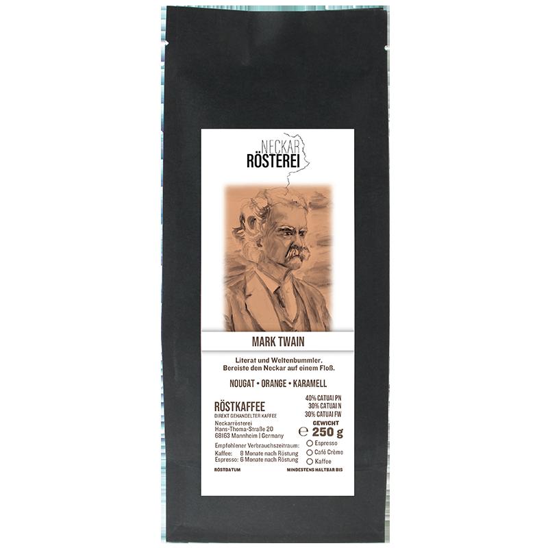 Eine Tüte gerösteter Kaffee von Neckarrösterei. Mischung Mark Twain.