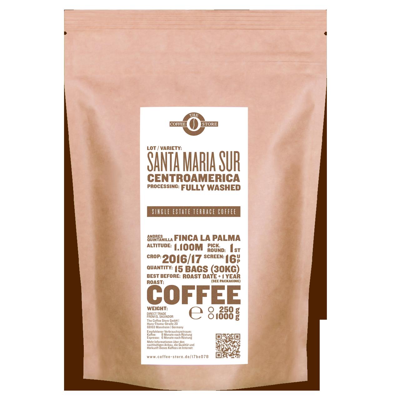 Eine Tüte gerösteter Kaffee von The Coffee Store. Kaffeeröstung Varietät Centroamerica.