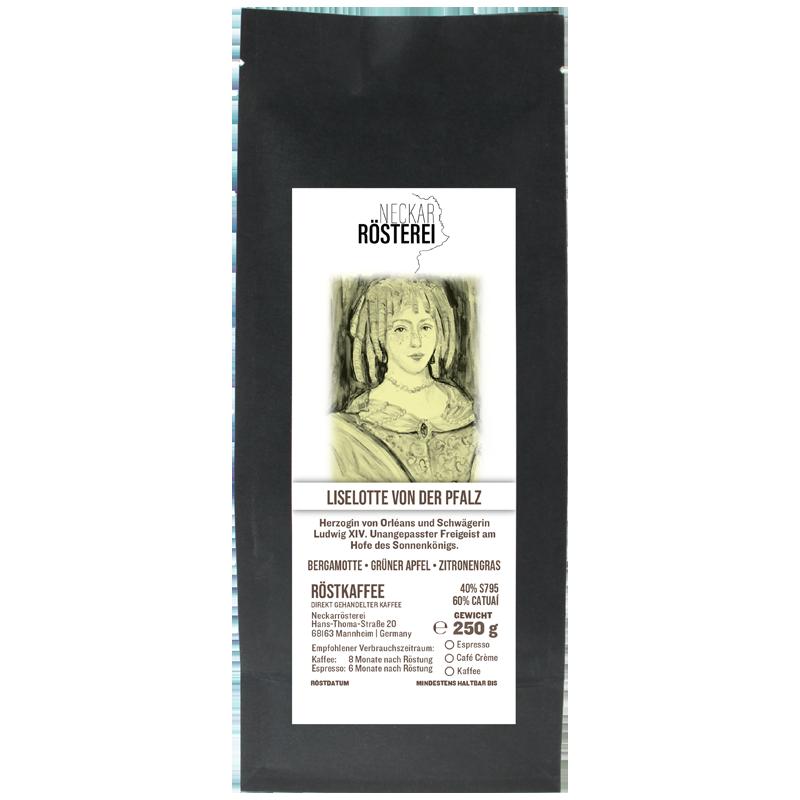 Eine Tüte gerösteter Kaffee von Neckarrösterei. Mischung Liselotte von der Pfalz.