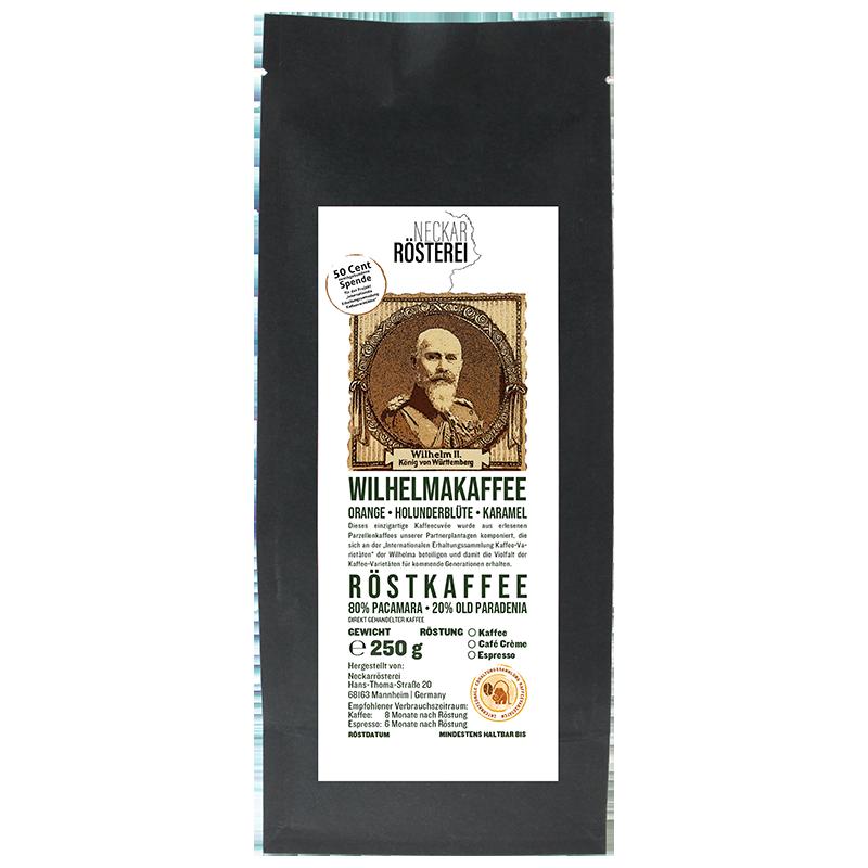 Eine Tüte gerösteter Kaffee von Neckarrösterei. Mischung Wilhelmakaffee.