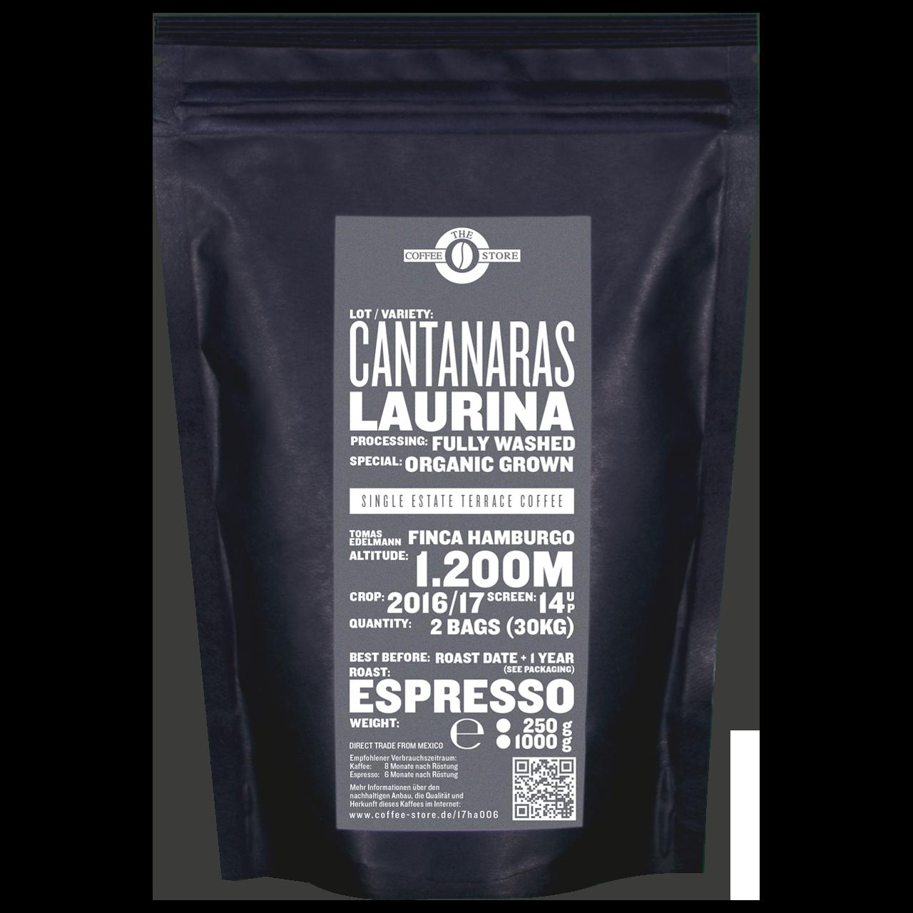 Eine Tüte gerösteter Kaffee von The Coffee Store. Espressoröstung Varietät Laurina Sonderedition.