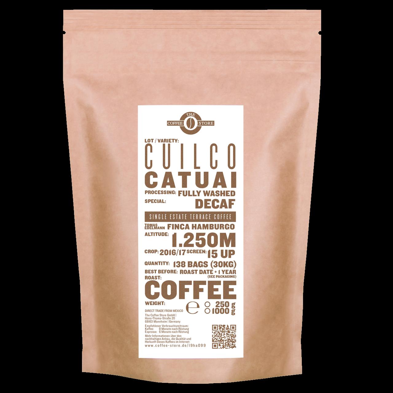 Eine Tüte gerösteter Kaffee von The Coffee Store. Decaf Kaffeeröstung  Varietät Catuai.