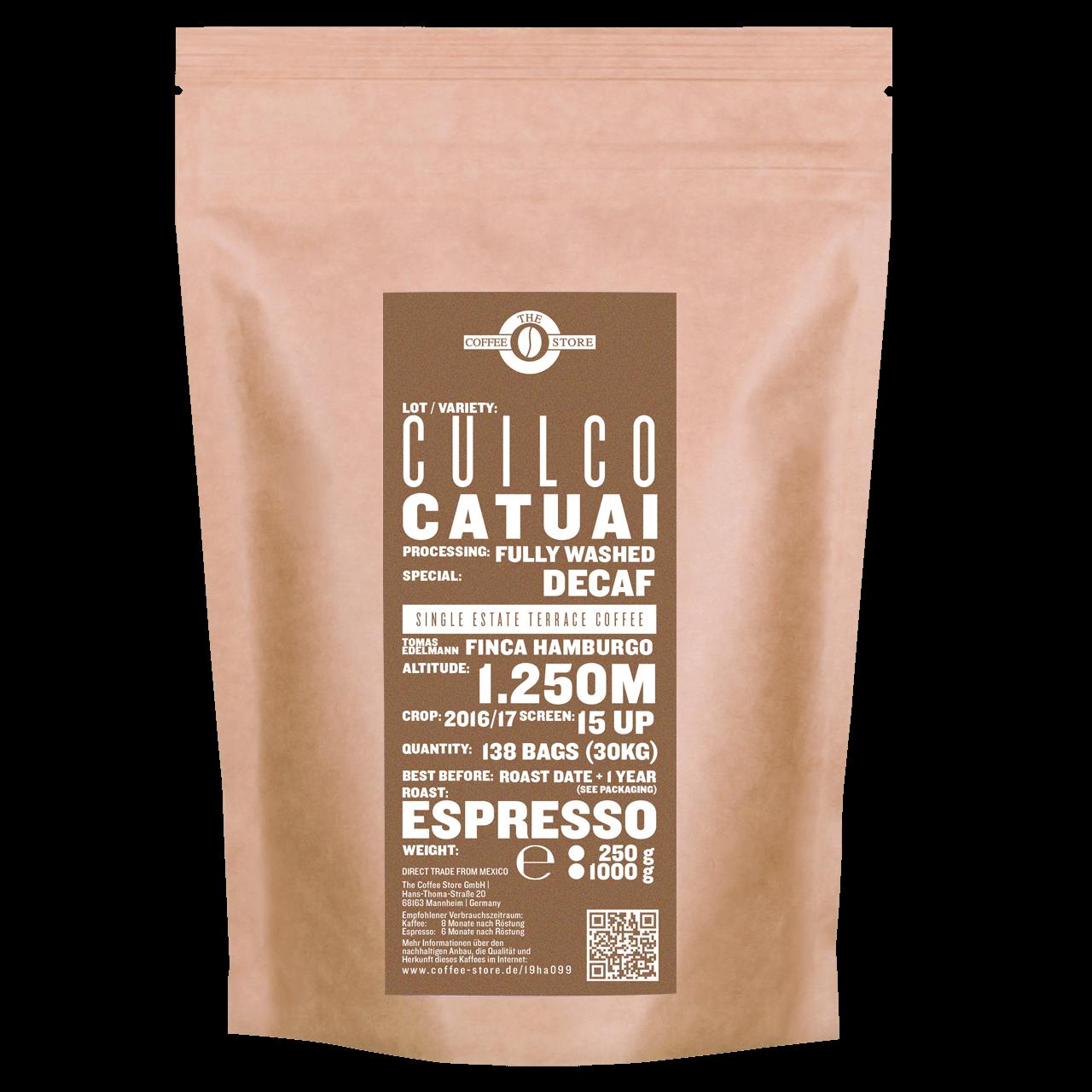 Eine Tüte gerösteter Kaffee von The Coffee Store. Decaf Espressoröstung Varietät Catuai.