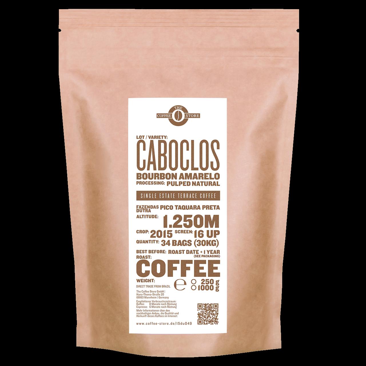 Eine Tüte gerösteter Kaffee von The Coffee Store. Kaffeeröstung Varieität Bourbon amarelo.